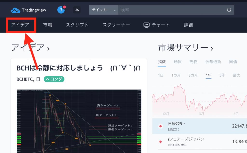 TradingViewのトップ画面からアイデアを見る方法